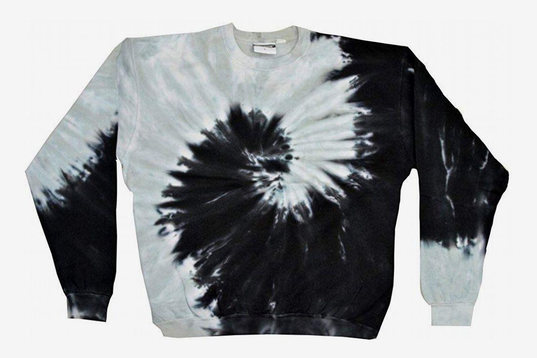 Colortone Tie Dye Crew Neck Fleece Spìral Black Grey Sweatshirt Adult