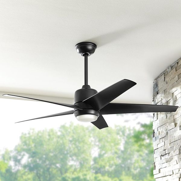Hampton Bay Mara 54 in. White Color Changing Integrated LED Indoor/Outdoor Matte Black Ceiling Fan with Light and Remote Control