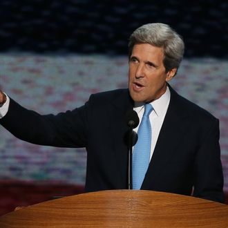 U.S. Sen. John Kerry (D-MA) speaks on stage during the final day of the Democratic National Convention at Time Warner Cable Arena on September 6, 2012 in Charlotte, North Carolina. The DNC, which concludes today, nominated U.S. President Barack Obama as the Democratic presidential candidate. CHARLOTTE, NC - SEPTEMBER 06: U.S. Sen. John Kerry (D-MA) speaks on stage during the final day of the Democratic National Convention at Time Warner Cable Arena on September 6, 2012 in Charlotte, North Carolina. The DNC, which concludes today, nominated U.S. President Barack Obama as the Democratic presidential candidate. (Photo by Alex Wong/Getty Images)