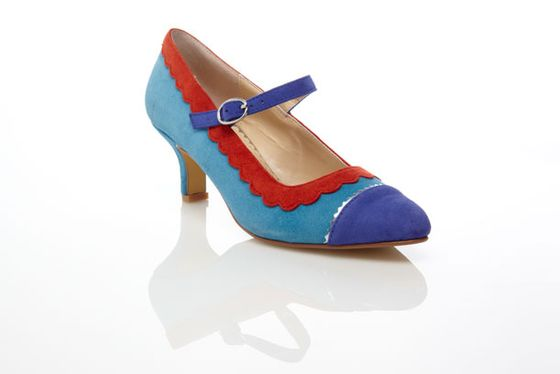 <b>Suede Cone Heel</b>  $79.90, available in black, blue, and pink
