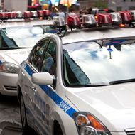 NYPD cars line 42nd Street between 6th and 7th Avenues. -- Increased security is very visible in New York City in light a credible terrorist threat that was reported leading up to the 10th anniversary of the 9/11 terrorist attack.