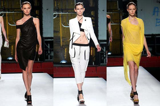Looks from Helmut Lang's spring 2012 collection.