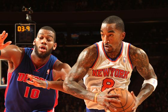 Smith #8 of the New York Knicks drives to the basket vs the Detroit Pistons on November 25, 2012 at Madison Square Garden in the Manhattan Borough of New York City.
