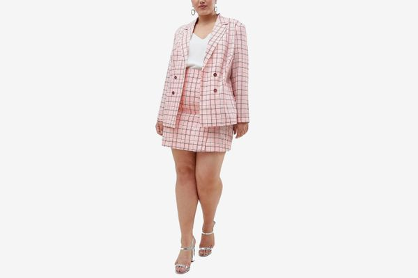 UNIQUE21 hero plus longline double breasted blazer in pink check two-piece