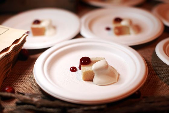 Gramercy Tavern's excellent apple bar with hickory cream and cranberry jam.