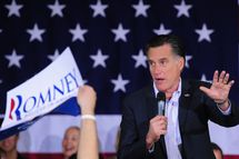 Republican presidential hopeful Mitt Romney greets supporters during a campaign rally in Reno, Nevada, February 2, 2012. AFP PHOTO/Emmanuel Dunand (Photo credit should read EMMANUEL DUNAND/AFP/Getty Images)