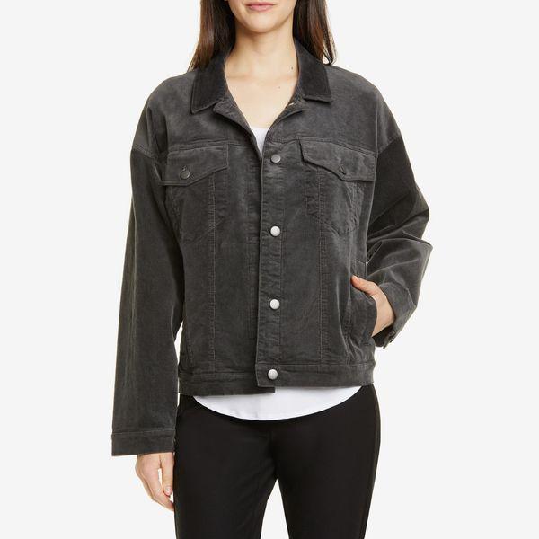 eileen fisher cotton blend corduroy trucker jacket - strategist nordstrom anniversary sale
