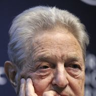 "A Hungarian-American financier George Soros looks on during a session entitled ""Redesigning the International Monetary System: A Davos Debate"" at the World Economic Forum annual meeting on January 27, 2011 in Davos.  AFP PHOTO / FABRICE COFFRINI (Photo credit should read FABRICE COFFRINI/AFP/Getty Images)"