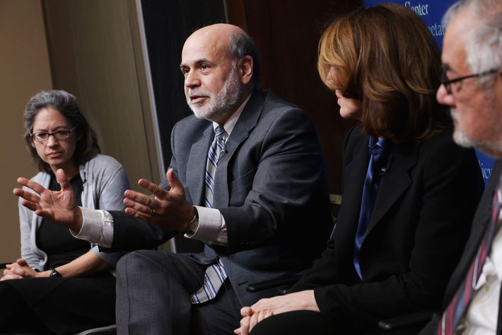 """WASHINGTON, DC - MARCH 02:  (L-R) Brookings Institution Senior Fellow Sarah Binder, former Fed Chairman Ben Bernanke, Morgan Stanley Chief Financial Officer and Executive Vice President Ruth Porat and former House Financial Services Committee Chairman Barney Frank (D-MA) participate in a panel discussion at the Brookings Institution March 2, 2015 in Washington, DC.  The institution hosted a series of lectures and discussions as party of a program called """"The Fed in the 21st century: Independence, governance, and accountability."""" (Photo by Chip Somodevilla/Getty Images)"""