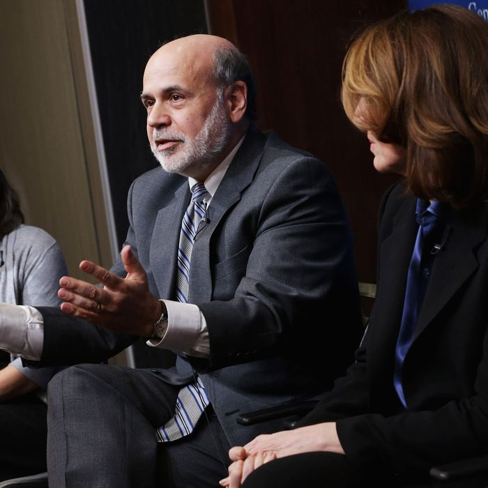 WASHINGTON, DC - MARCH 02: (L-R) Brookings Institution Senior Fellow Sarah Binder, former Fed Chairman Ben Bernanke, Morgan Stanley Chief Financial Officer and Executive Vice President Ruth Porat and former House Financial Services Committee Chairman Barney Frank (D-MA) participate in a panel discussion at the Brookings Institution March 2, 2015 in Washington, DC. The institution hosted a series of lectures and discussions as party of a program called