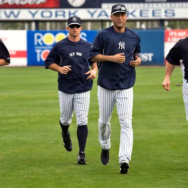 New York Yankees' Ichiro Suzuki (L-R), Brett Gardner, Derek Jeter and Kevin Youkilis run during a workout at the team's MLB spring training complex at George M. Steinbrenner Field in Tampa, Florida, February 24, 2013.