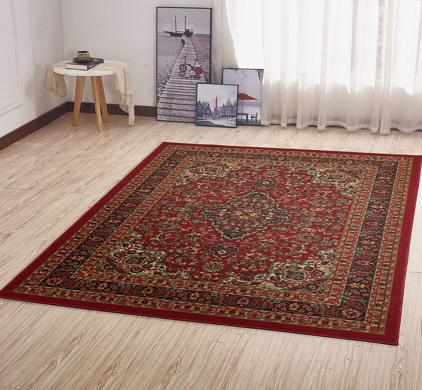"Ottomanson Ottohome Persian Heriz Oriental Design with Non-Skid Rubber Backing, 60"" L x 78"" W, Red"