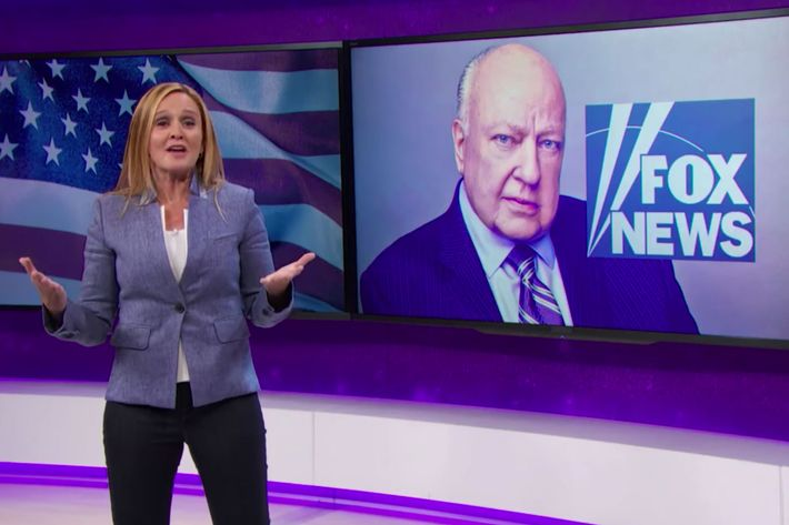 Samantha Bee is glad to see Roger Ailes go.