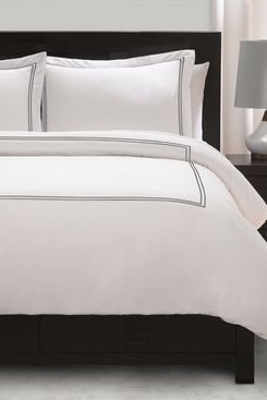 Ella Jayne Satin Stitched Percale Duvet-Cover Set, Full/Queen, Silver