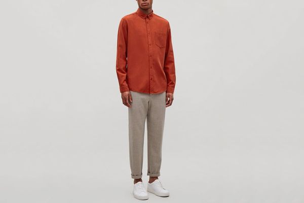 COS Cotton Button-down Shirt in Rust