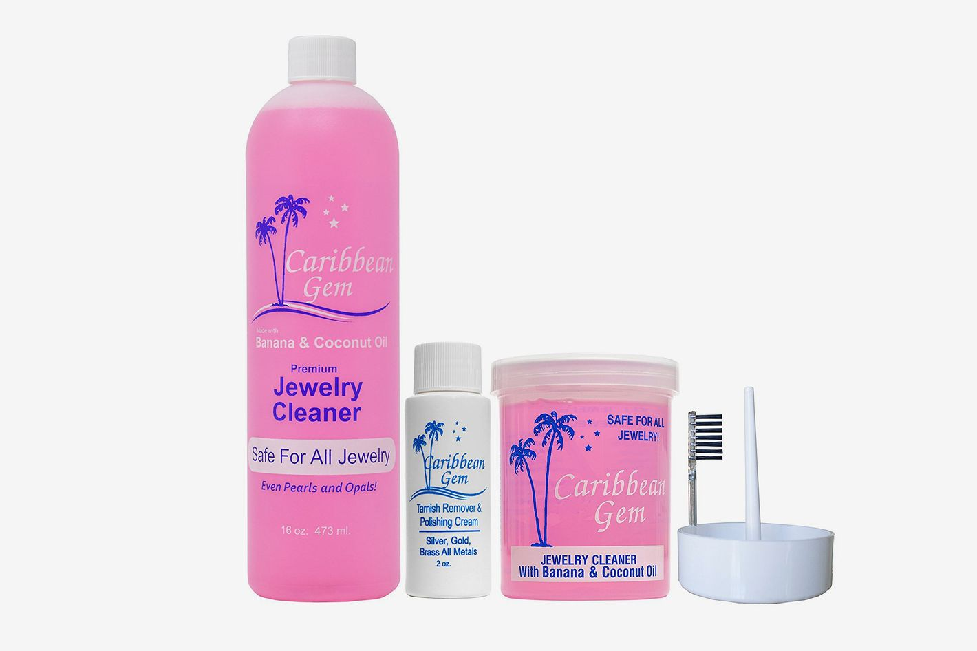 Caribbean Gem Banana & Coconut Oil Jewelry Cleaner, Ultra Jewelry Cleaning Kit With Scratch and Tarnish Remover