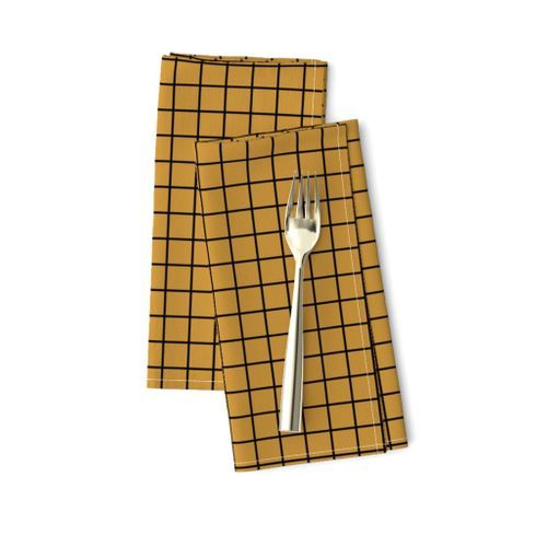 Spoonflower Dinner Napkins Square Grid, Mustard Black, Set of 2
