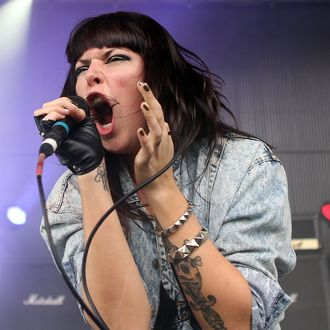 BRISBANE, AUSTRALIA - JANUARY 05: Alexis Krauss of Sleigh Bells performs on stage during the 2011 Sunset Sounds music festival at the Brisbane Botanical Gardens and River Stage on January 5, 2011 in Brisbane, Australia. (Photo by Mark Metcalfe/Getty Images) *** Local Caption *** Alexis Krauss