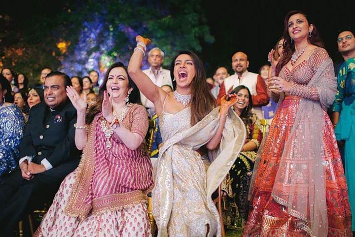 Priyanka Chopra cheering.