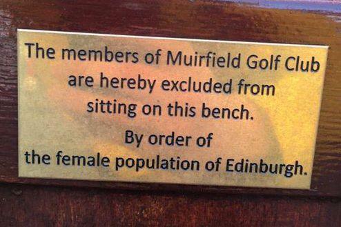 Edinburgh's 'female population' bans Muirfield members from bench