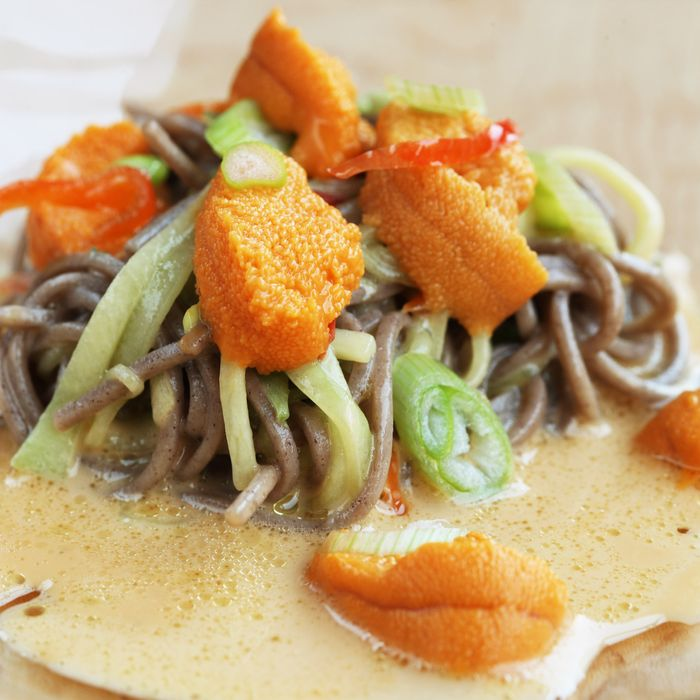 Maine sea urchin, soba, ginger, and chile.