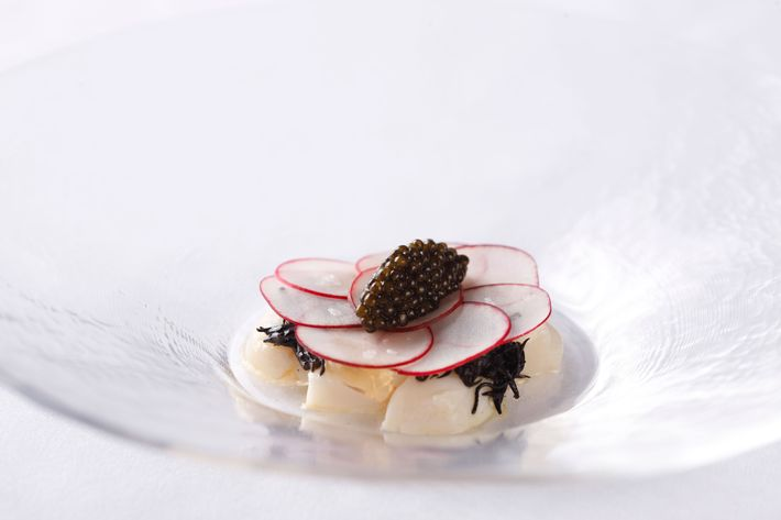 Scallop crudo with kombu and caviar.