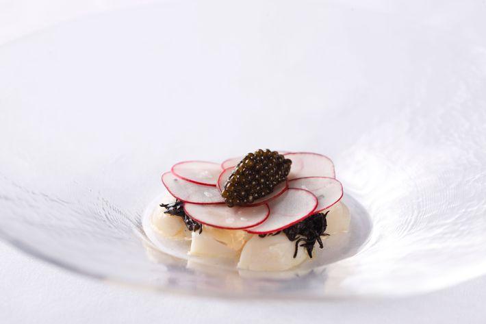 Scallop crudo with kombu and caviar.