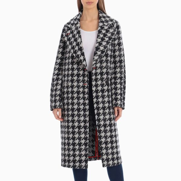 Aves Les Filles Houndstooth Oversize Double Face Coat
