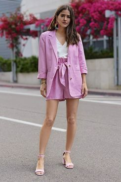The Drop Women's Orchid Pink Oversized Turn-up Sleeve Blazer