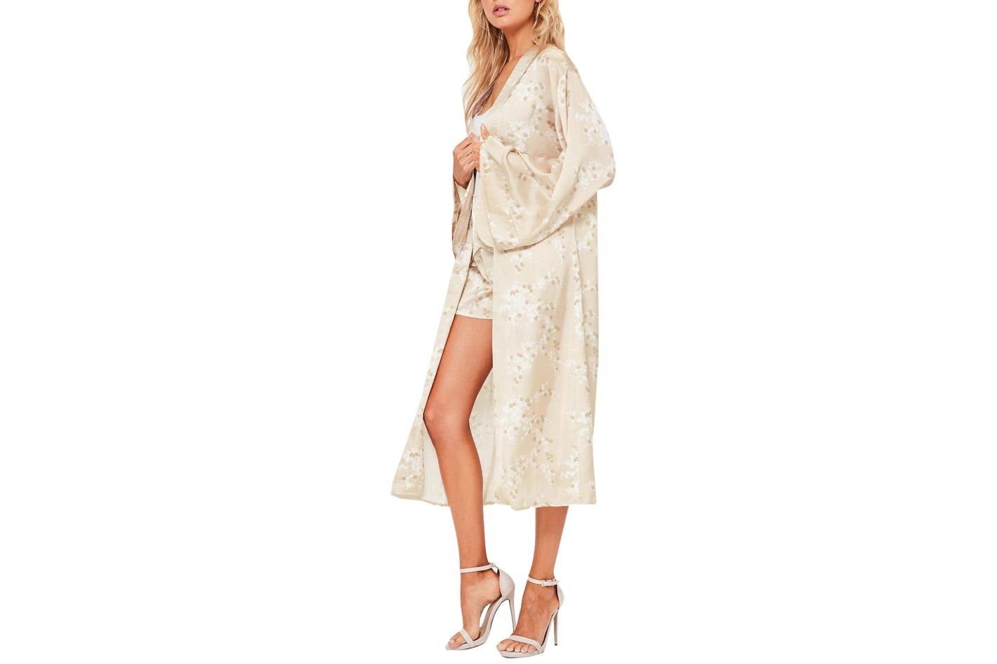 Gold Satin Blossom Print Robe