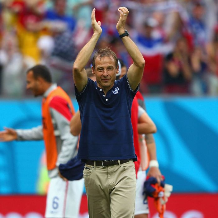 Head coach Jurgen Klinsmann of the United States acknowledges the fans after being defeated by Germany 1-0 during the 2014 FIFA World Cup Brazil group G match between the United States and Germany at Arena Pernambuco on June 26, 2014 in Recife, Brazil.