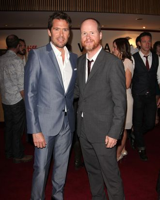 Actor Alexis Denisof (L) and director Joss Whedon attends the