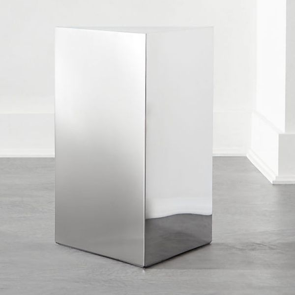 Mirrored Pedestal Side Table