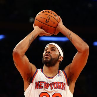 Rasheed Wallace #36 of the New York Knicks in action against the Indiana Pacers at Madison Square Garden on November 18, 2012 in New York City. The Knicks defeated the Pacers 88-76