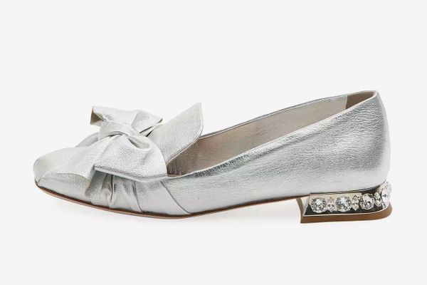 Miu Miu Metallic Leather Jeweled-Heel Loafer