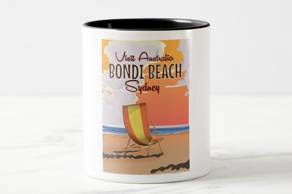 Zazzle Bondi Beach Vintage Travel Poster Coffee Mug