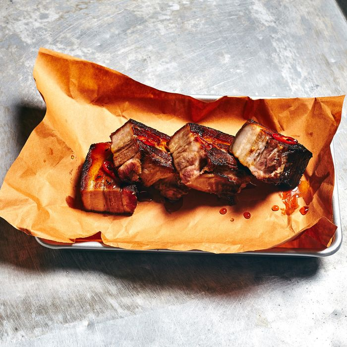 Cayenne-glazed pork belly by the hunk at Game.