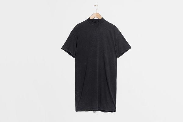 Mock Neck Shirt Dress