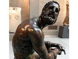 Boxer statue posing