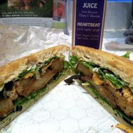 The popular Midtown Melt (cajun-spiced seitan with agave guacamole, chipotle aioli, and vegan Cheddar).