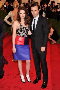 "Actress Kristen Stewart and designer Nicolas Ghesquiere attend the ""Schiaparelli And Prada: Impossible Conversations"" Costume Institute Gala at the Metropolitan Museum of Art on May 7, 2012 in New York City."