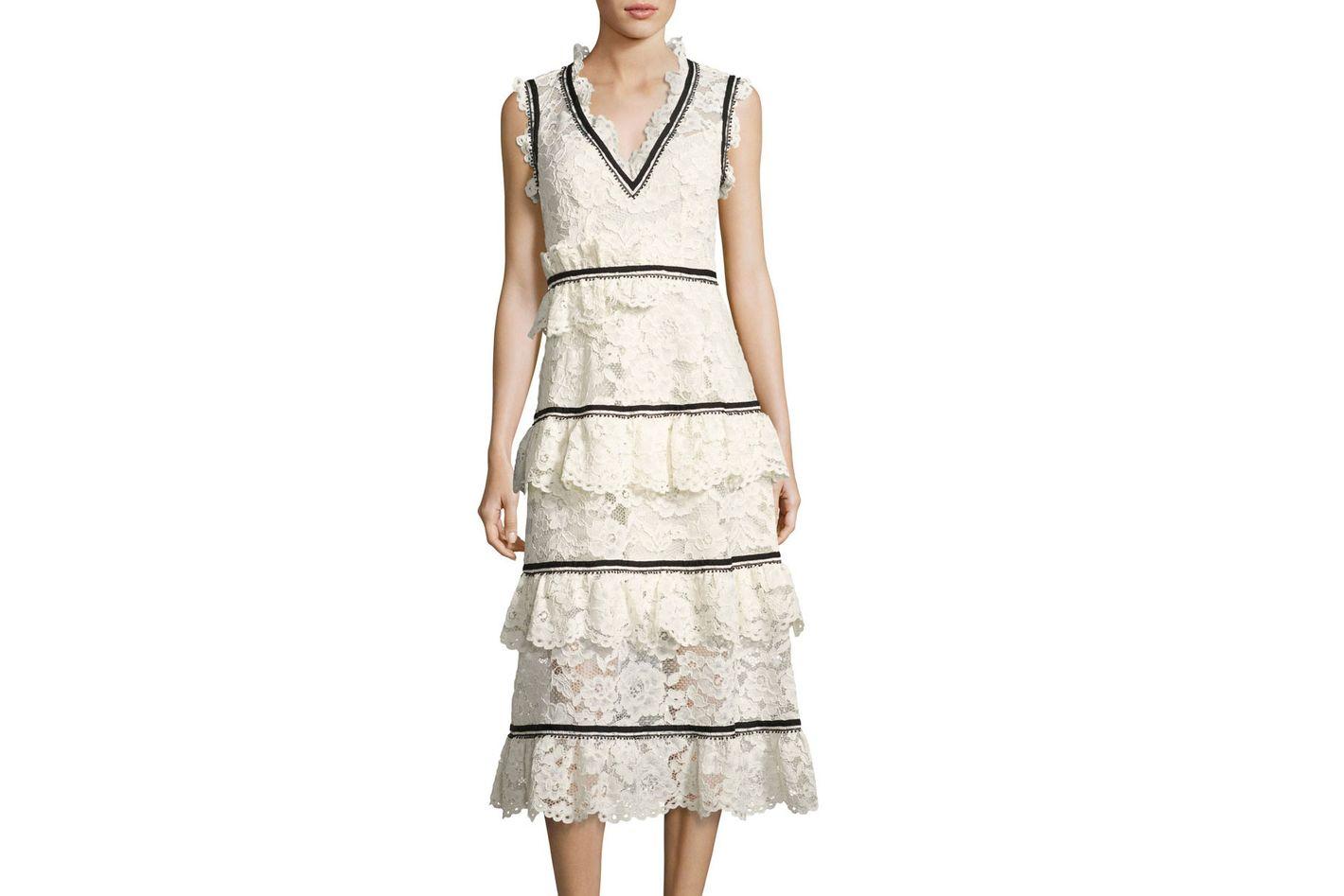 Self-Portrait Tiered Lace Sleeveless Midi Dress, White/Black