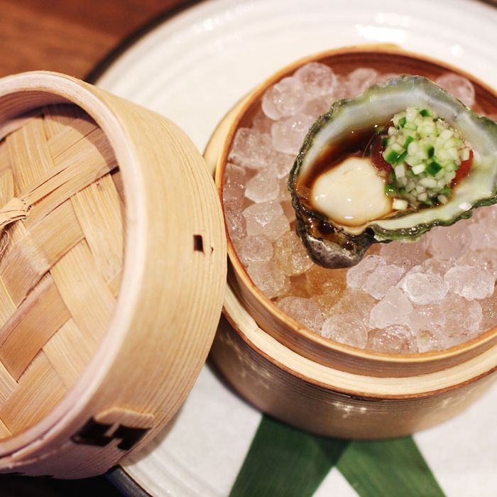 Kumamoto oyster with ponzu-watermelon pearls and cucumber mignonette.