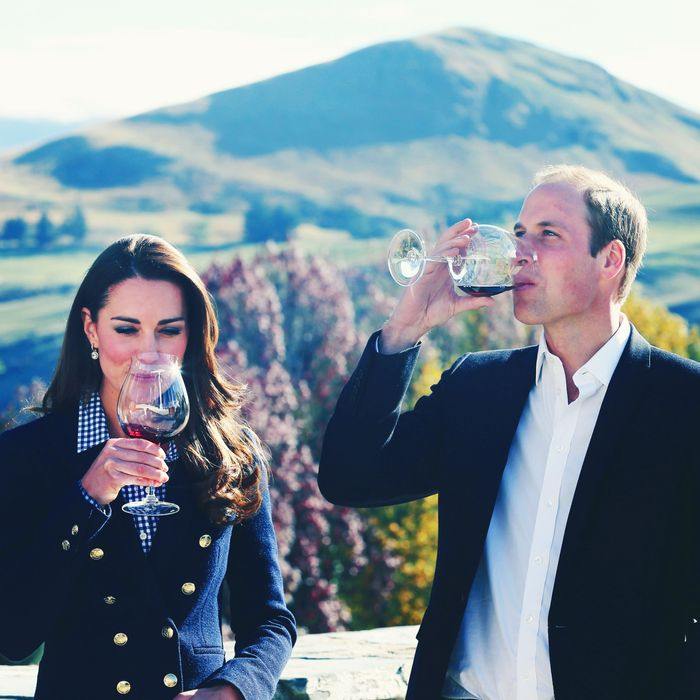 Kate Middleton, wine, Prince William, and more wine.