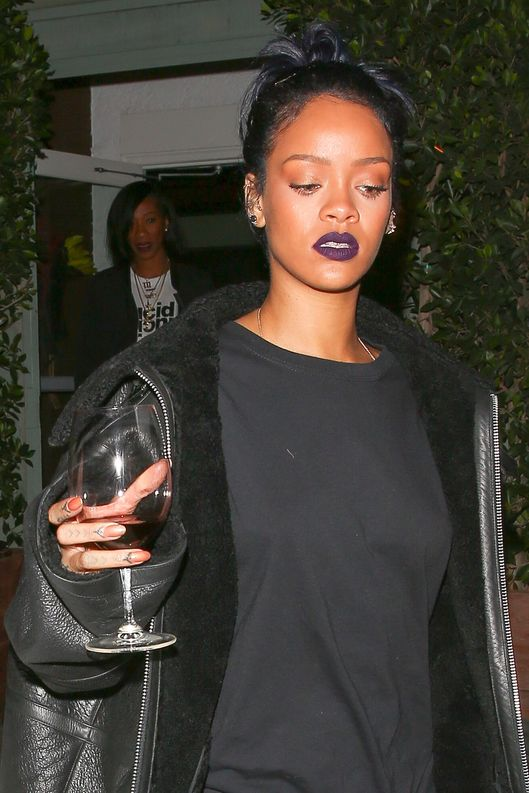 *EXCLUSIVE* Rihanna leaves Giorgio Baldi with a glass of red wine