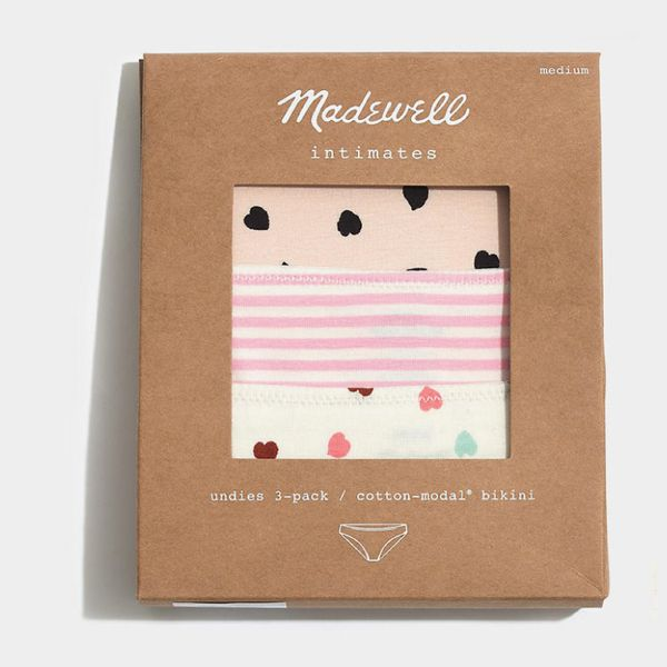 Madewell 3-pack cotton-modal bikini undies set, in soft colors