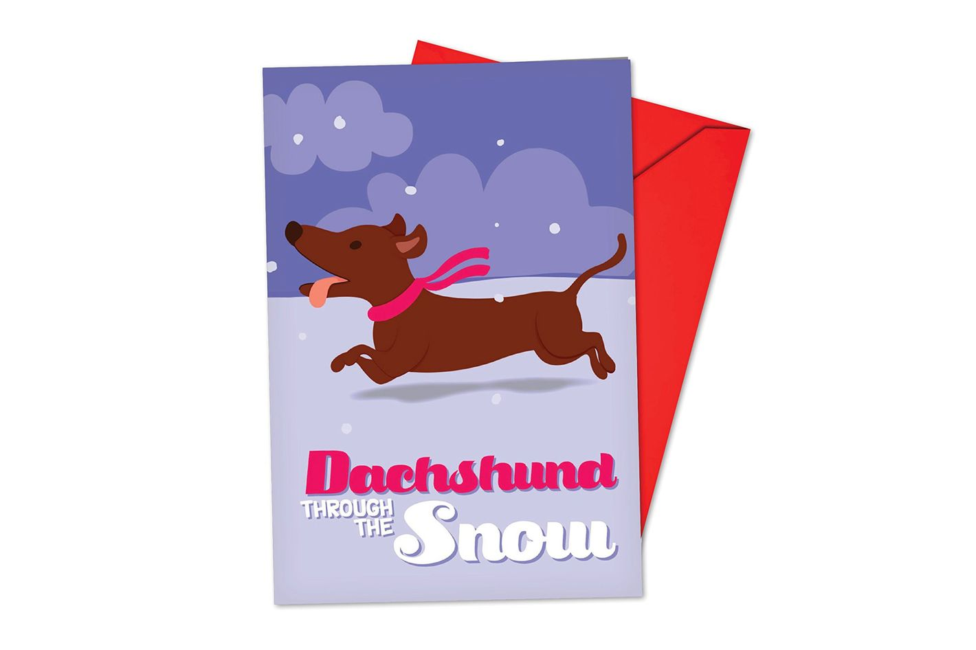 B6737CXSB Box Set of 12 Merry Pets Blank Christmas Note Card Featuring a Sweet and Sassy Dachshund