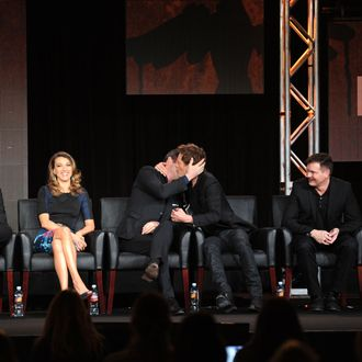 (L-R) Cast members James Purefoy and Kevin Bacon during THE FOLLOWING session at the 2013 FOX WINTER TCA on Tuesday, Jan. 8 at the Langham Hotel in Pasadena CA.