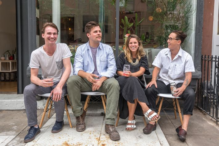 Nathaniel Mell and Wynn Bauer from Felt + Fat alongside Take Root's Anna Hieronimus and Elise Kornack.