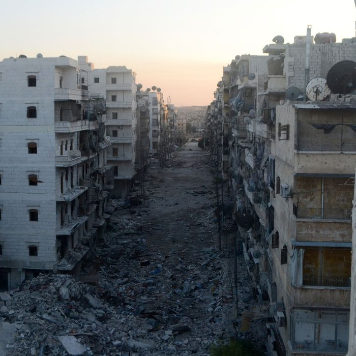 A picture taken on August 22, 2013 shows a devastated street in the Salaheddine district of the northern city of Aleppo, Syria. Russia questioned Western claims the Syrian regime may have carried out a chemical weapons attack and branded as